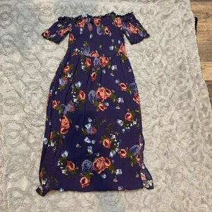 Strapless blue/purple floral mid calf dress